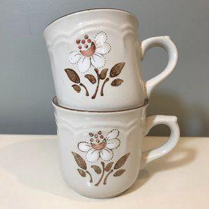 Vtg Cumberland Stoneware Mayblossom Mugs Set of 2